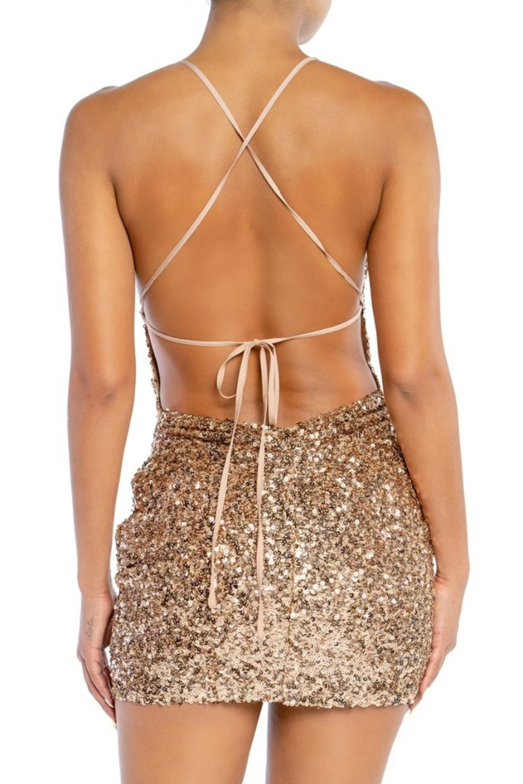 luxxel Sequin Mini Dress - Front Full Image