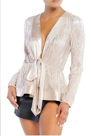 luxxel Shiny Ruffle Blouse - Product Mini Image