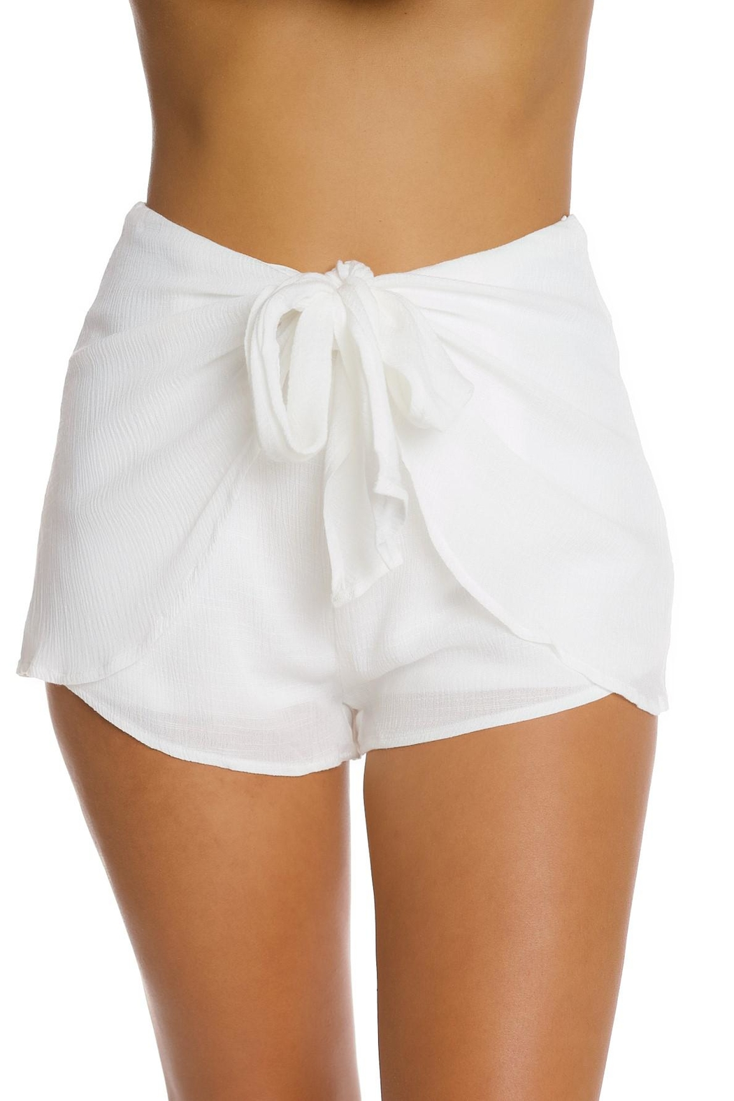 luxxel White Crinkle Shorts - Front Cropped Image