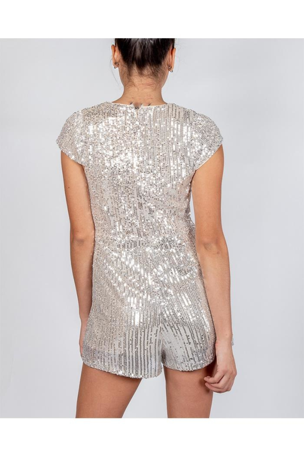 luxxel Silver Sequin Romper - Side Cropped Image