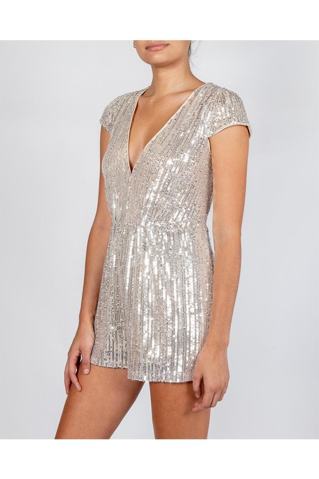 luxxel Silver Sequin Romper - Front Full Image