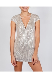 luxxel Silver Sequin Romper - Front cropped