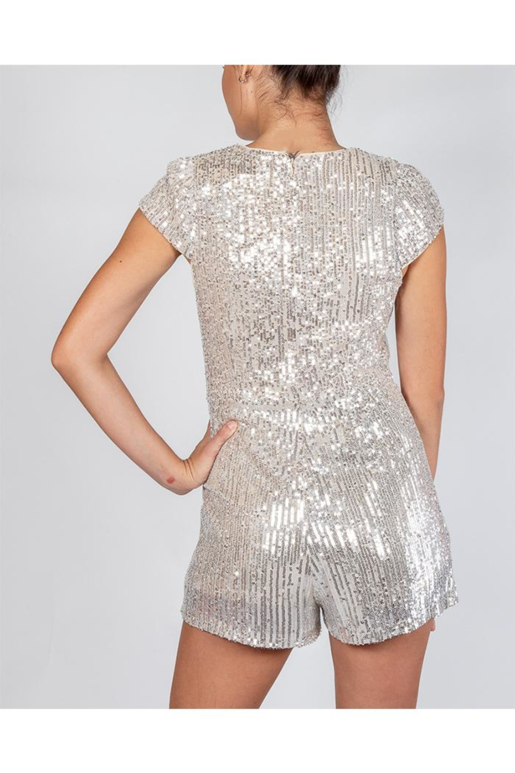 luxxel Silver Sequin Romper - Back Cropped Image