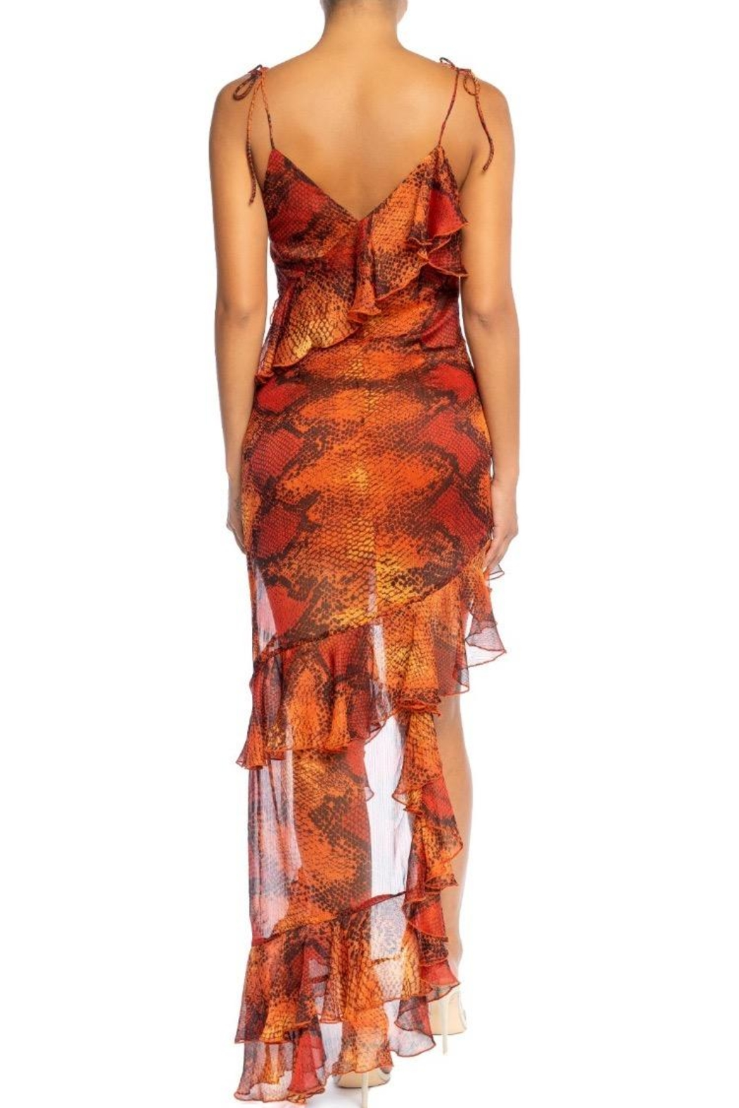 luxxel Snake-Skin Ruffle Maxi - Front Full Image