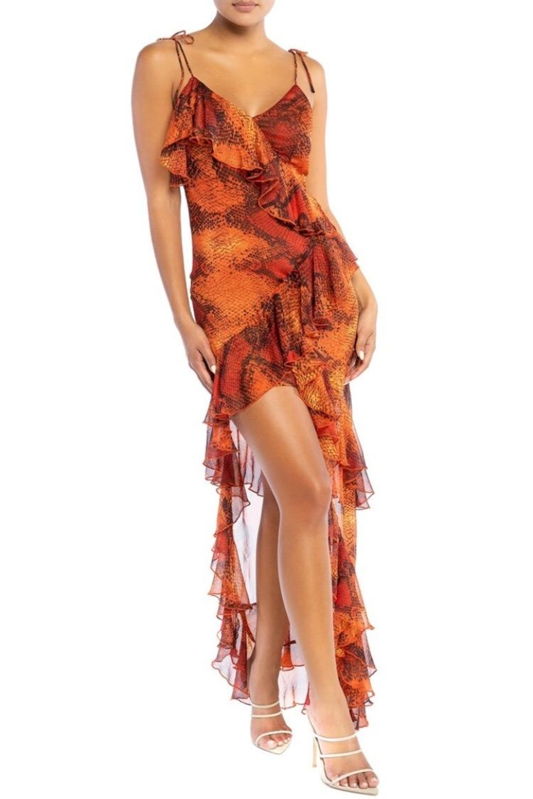 luxxel Snake-Skin Ruffle Maxi - Front Cropped Image