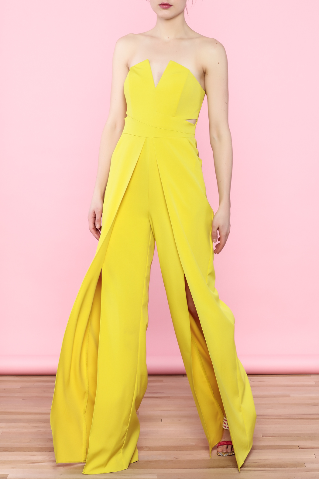 luxxel Split Bust Strapless Jumpsuit - Front Cropped Image