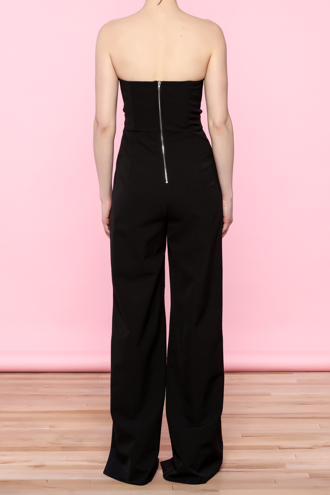 luxxel Split Bust Strapless Jumpsuit - Back Cropped Image