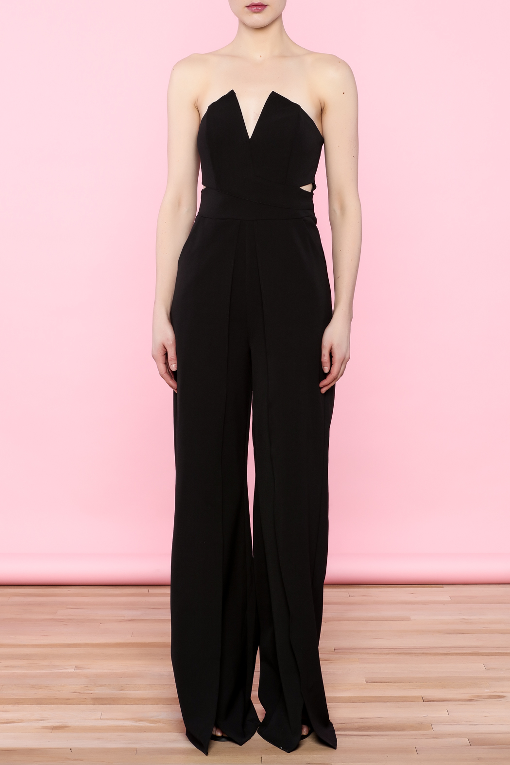 luxxel Split Bust Strapless Jumpsuit - Front Full Image