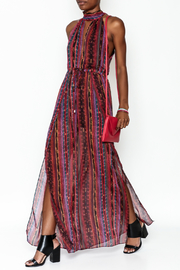 luxxel Stripe Open Maxi Dress - Product Mini Image