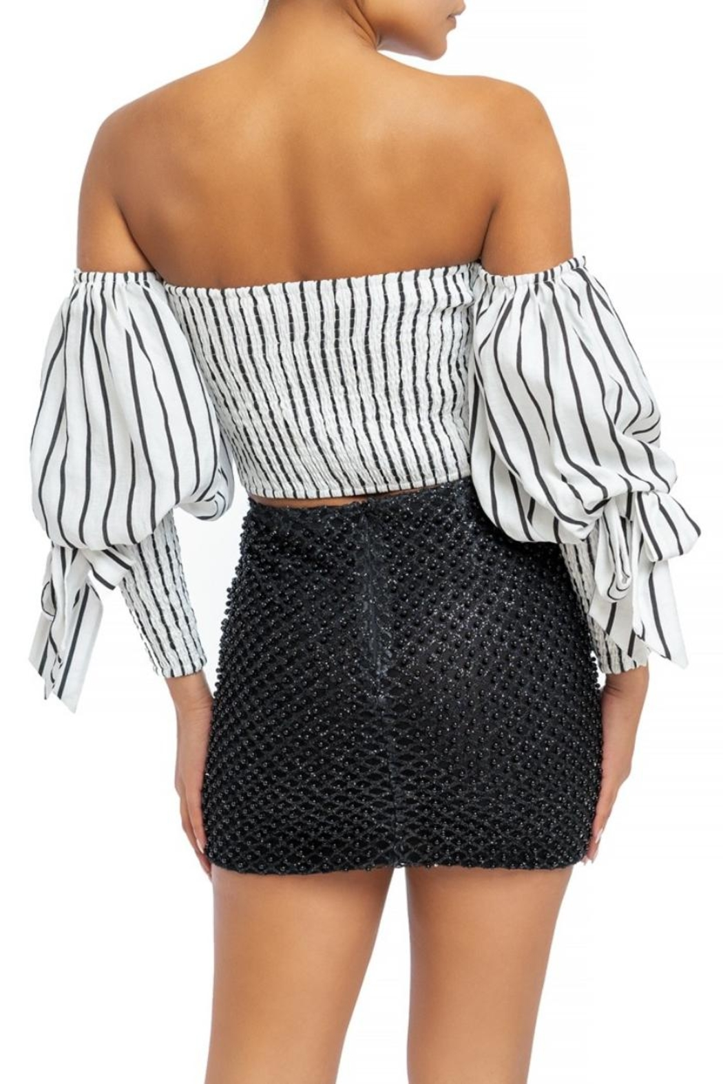luxxel Striped Puff-Sleeve Blouse - Front Full Image