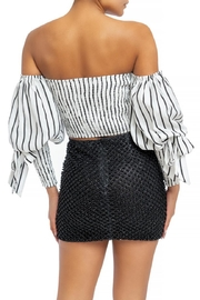 luxxel Striped Puff-Sleeve Blouse - Front full body