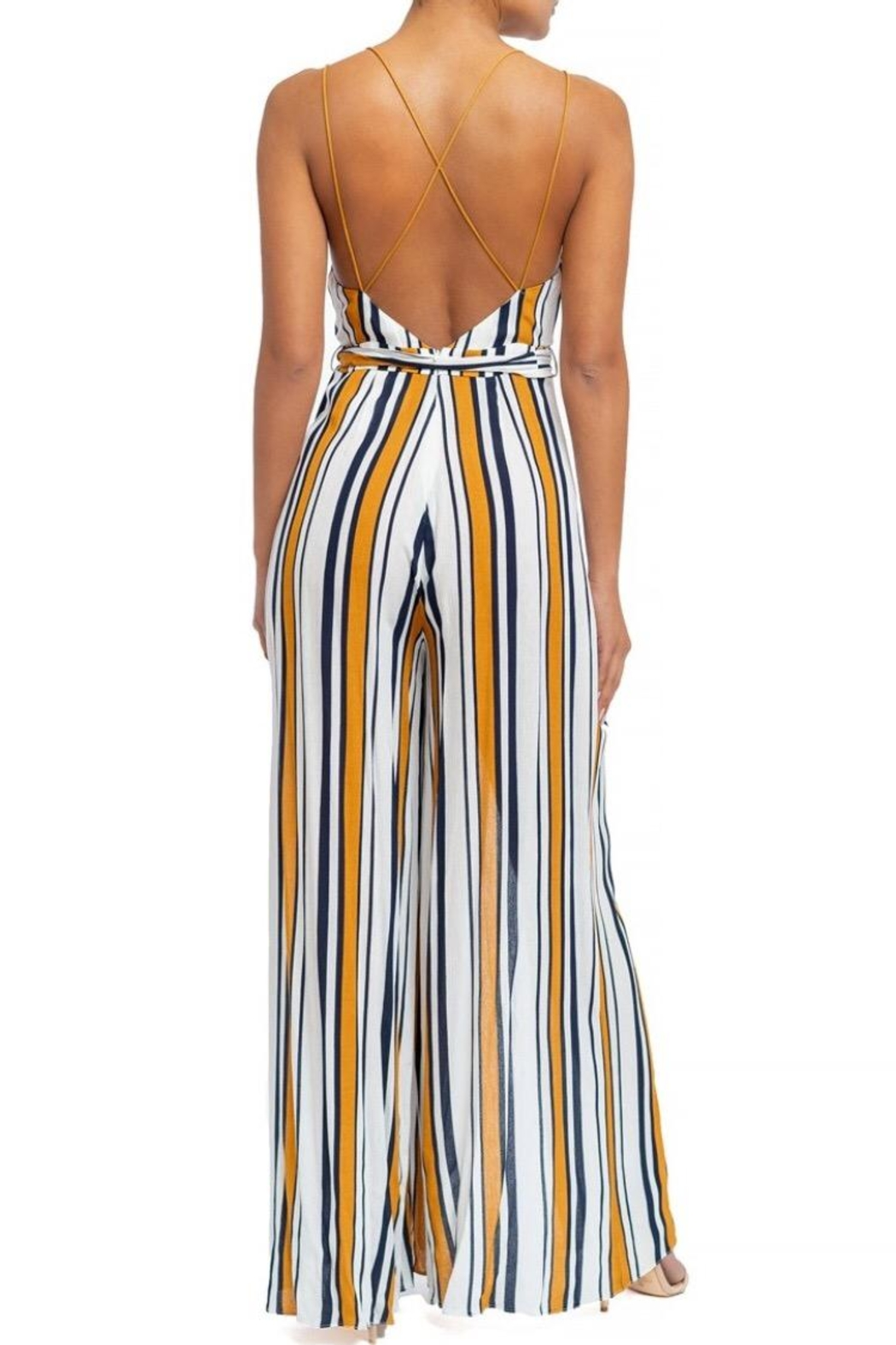luxxel Striped Split Jumpsuit - Front Full Image