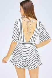 luxxel Striped Wrap Romper - Back cropped