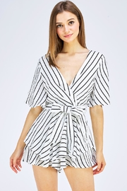 luxxel Striped Wrap Romper - Front cropped