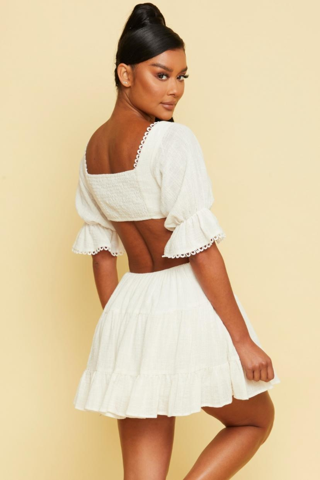 luxxel Tiered Cut-Out Dress - Front Full Image