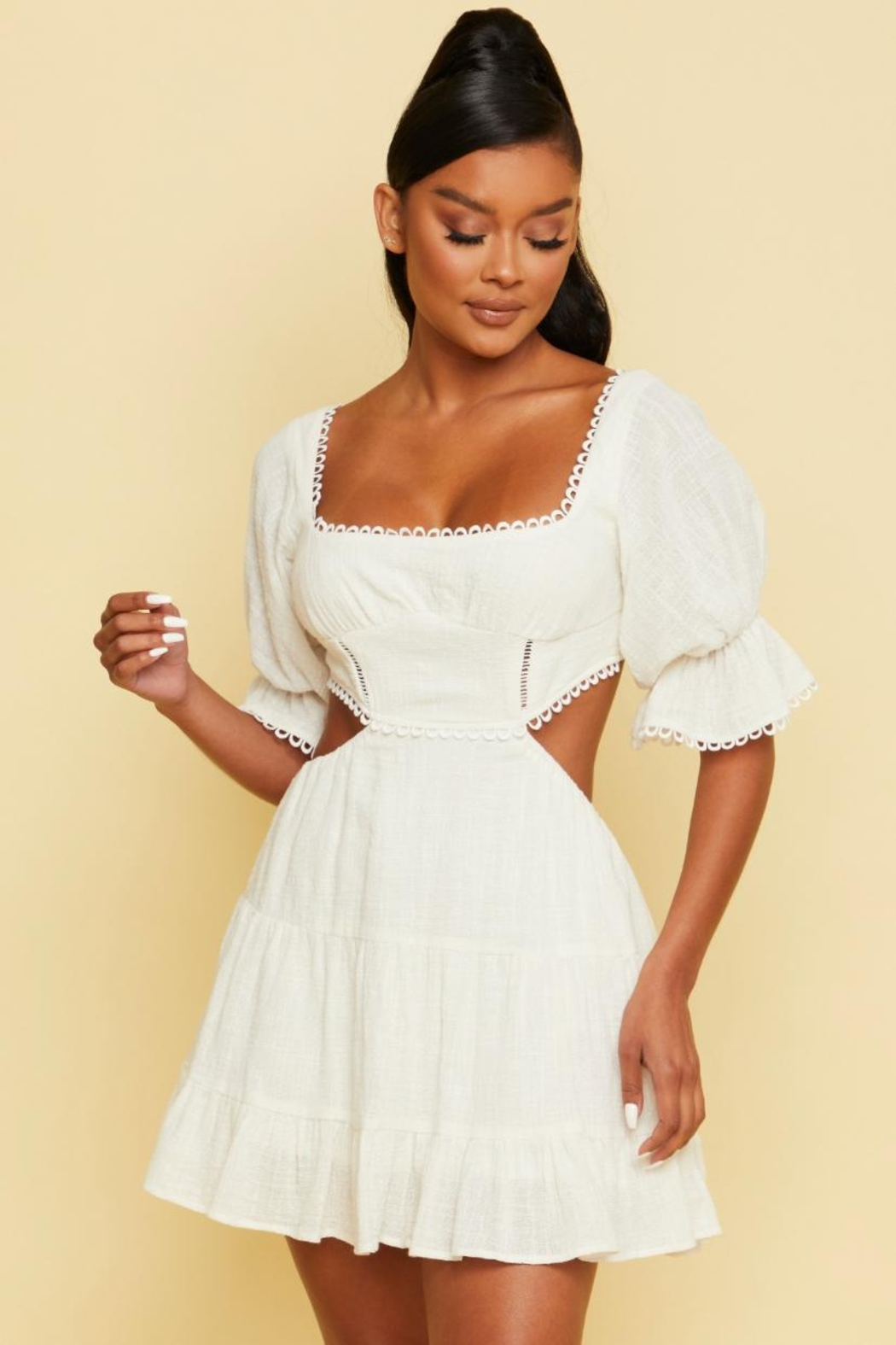 luxxel Tiered Cut-Out Dress - Main Image
