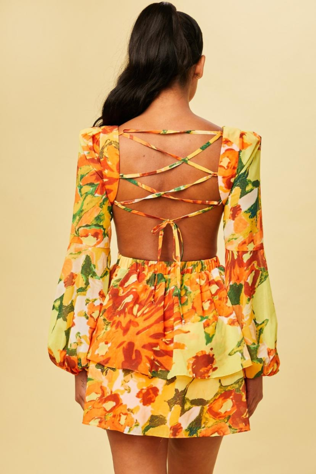luxxel Tropical Cut-Out Dress - Front Full Image