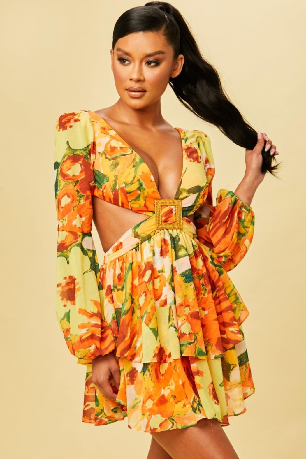luxxel Tropical Cut-Out Dress - Main Image