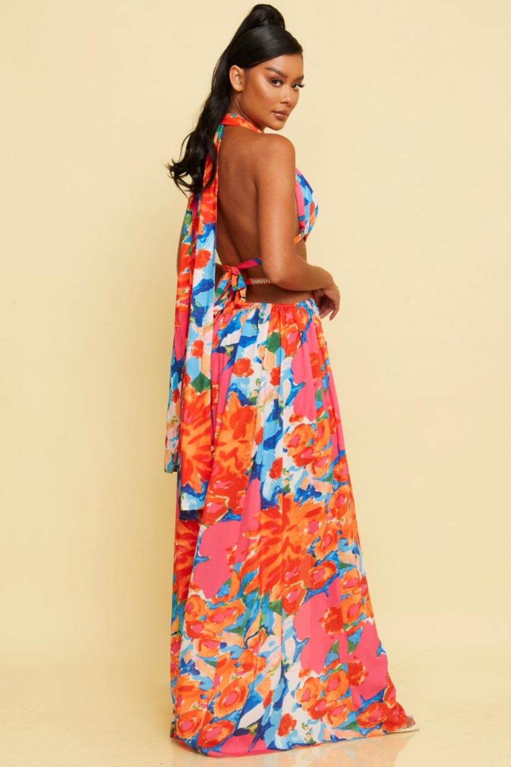 luxxel Tropical Halter Maxi - Front Full Image