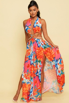 luxxel Tropical Halter Maxi - Product List Image