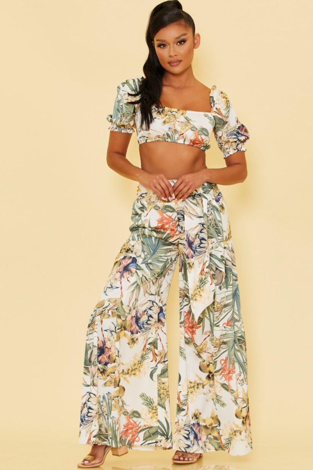 luxxel Tropical Pants Set - Front Cropped Image