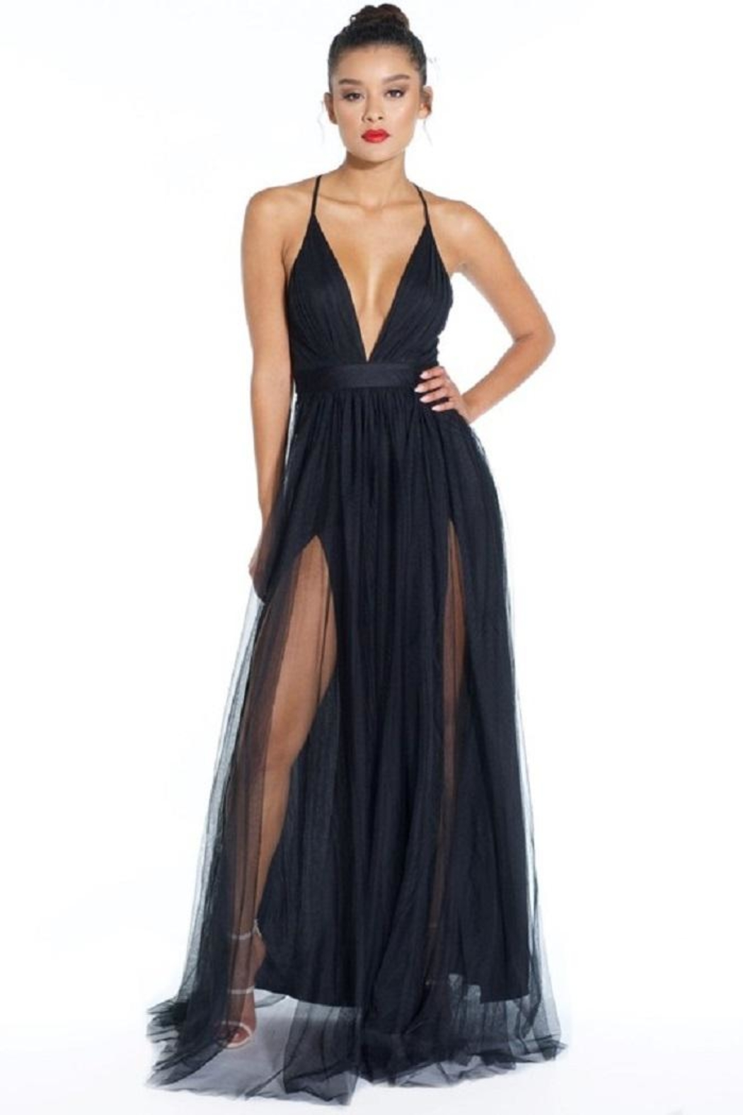 luxxel Tulle Maxi Dress - Front Cropped Image