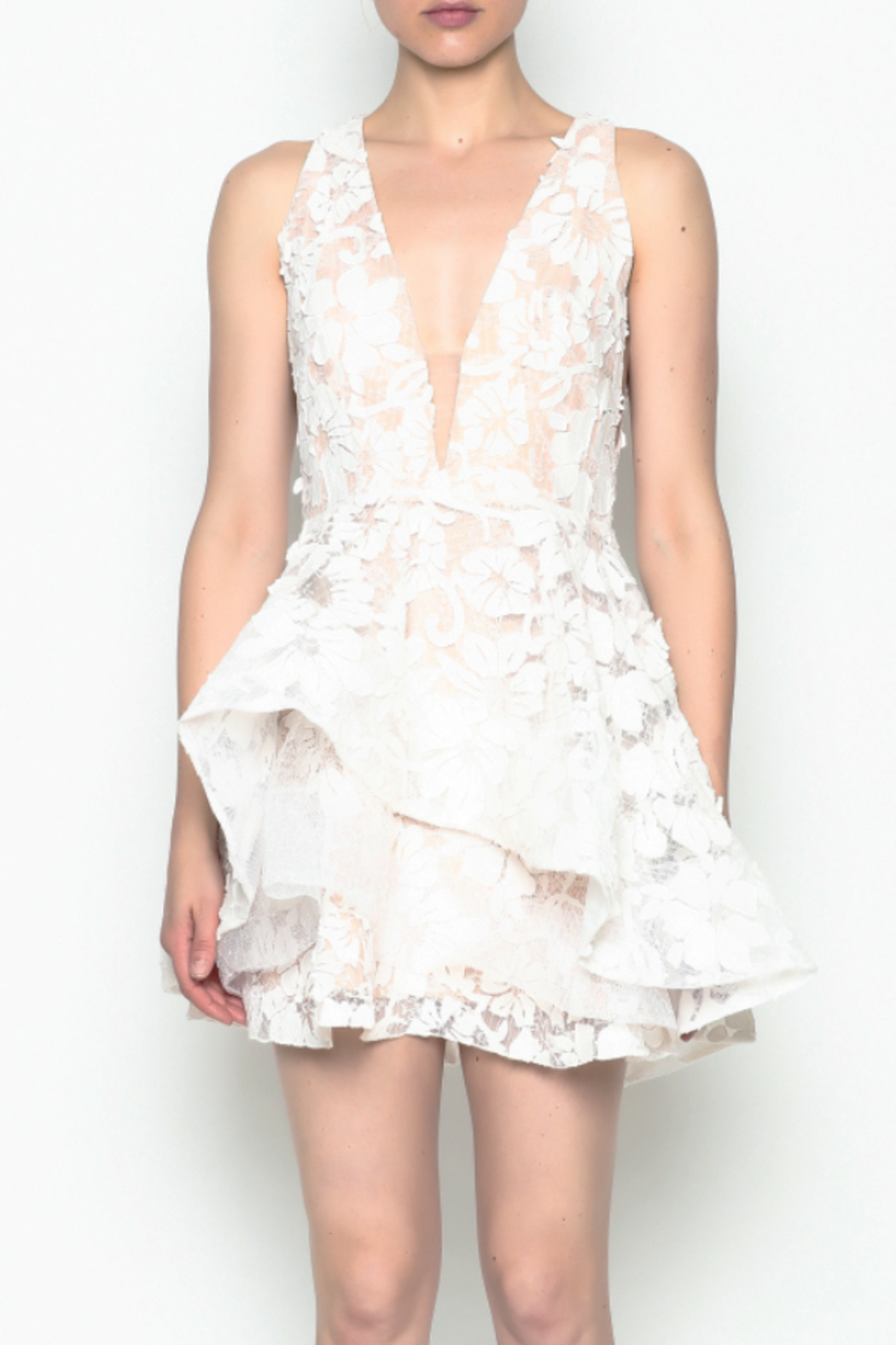 luxxel White Layered Dress - Front Cropped Image
