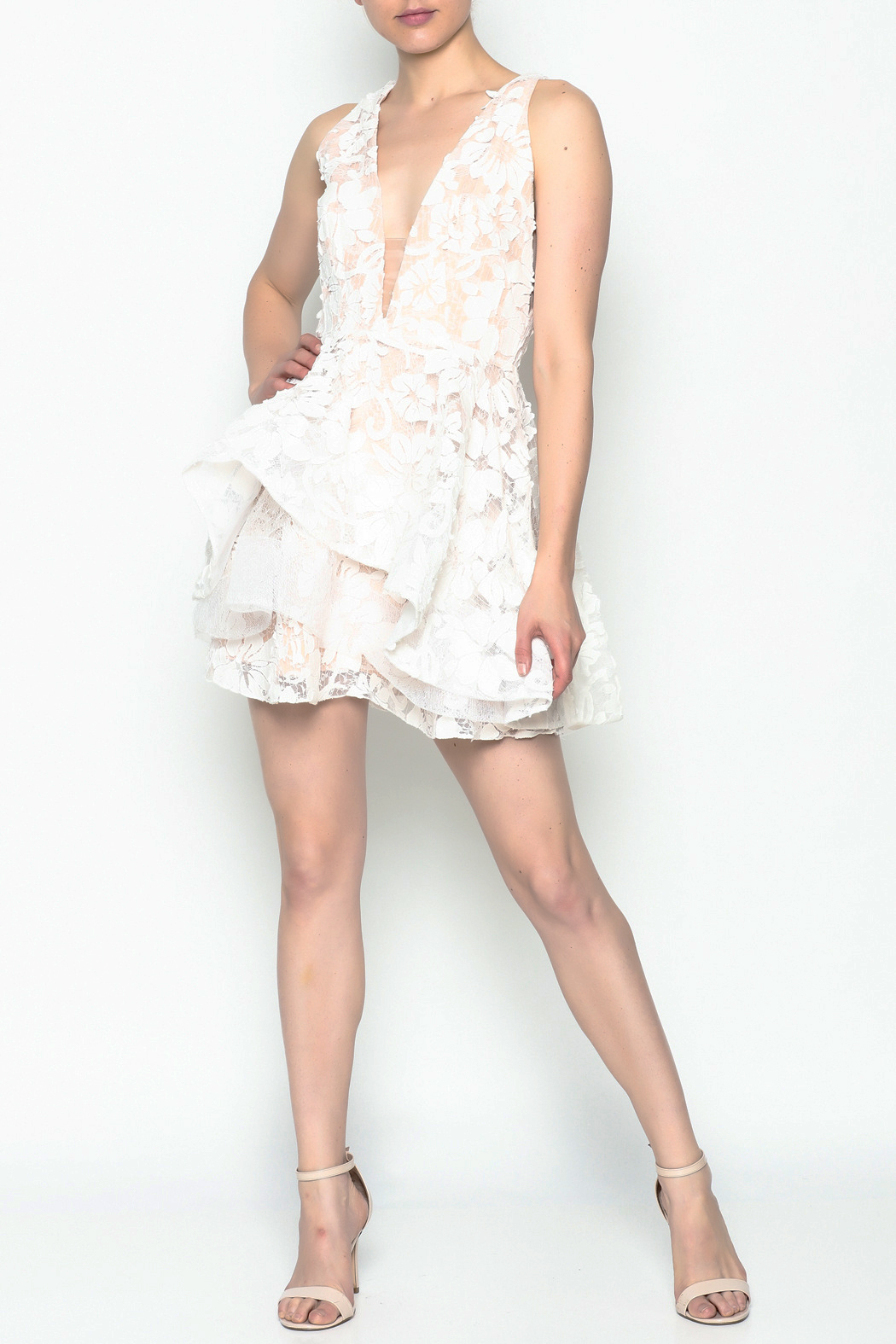 luxxel White Layered Dress - Side Cropped Image