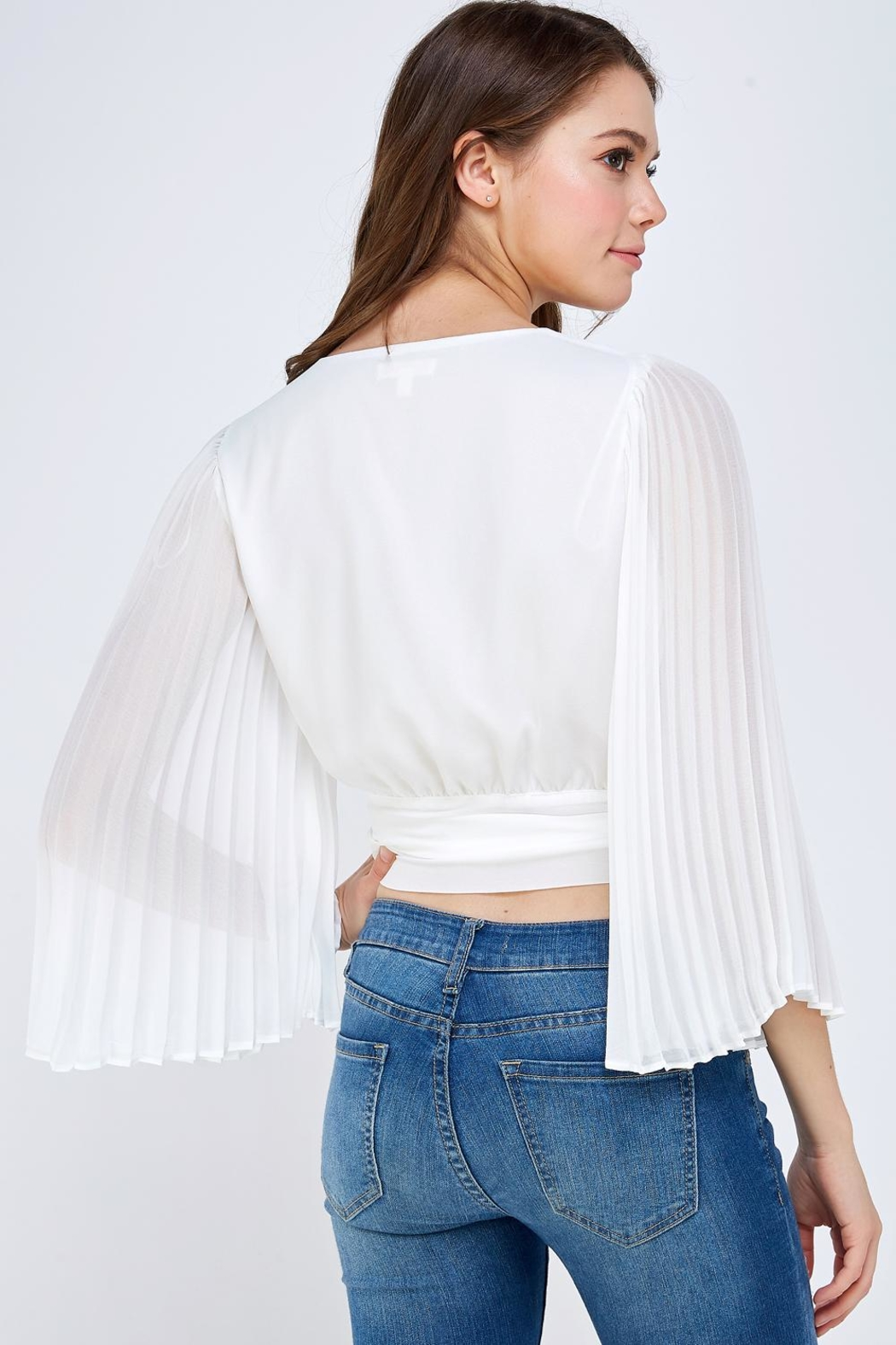 luxxel White Pleated Blouse - Back Cropped Image