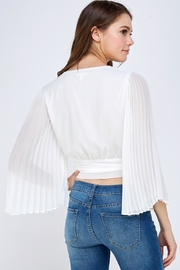 luxxel White Pleated Blouse - Back cropped