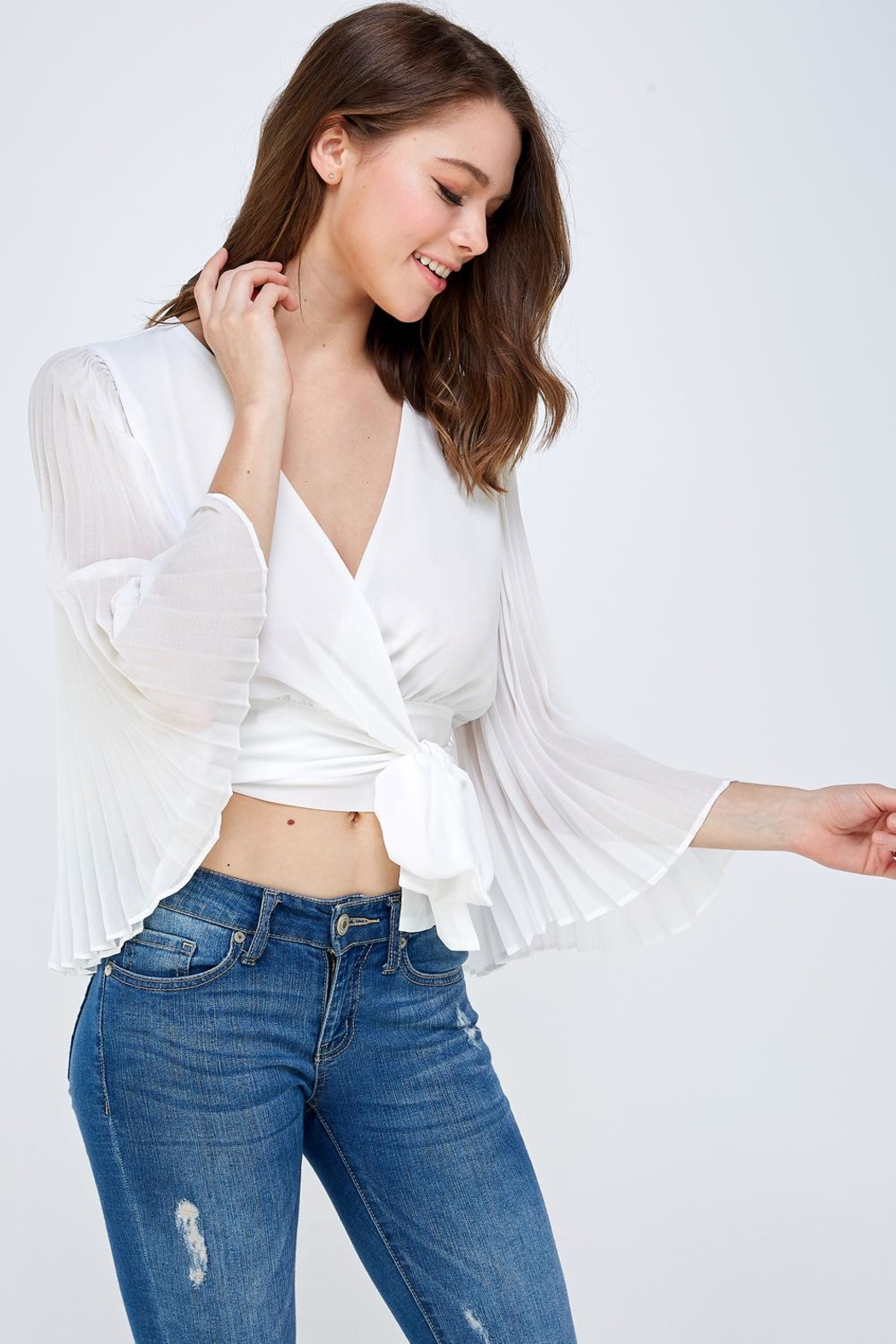 luxxel White Pleated Blouse - Front Full Image