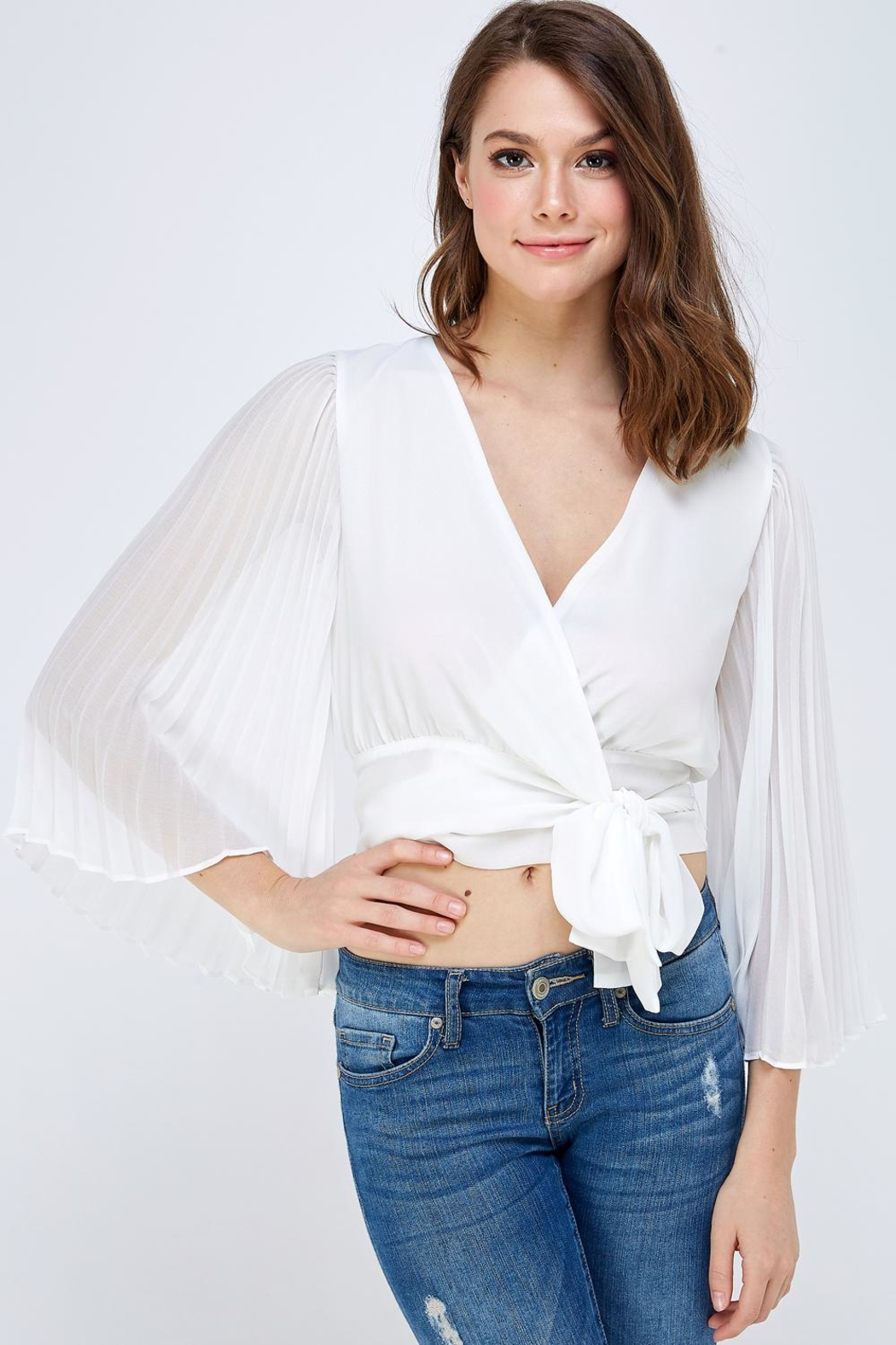 luxxel White Pleated Blouse - Main Image