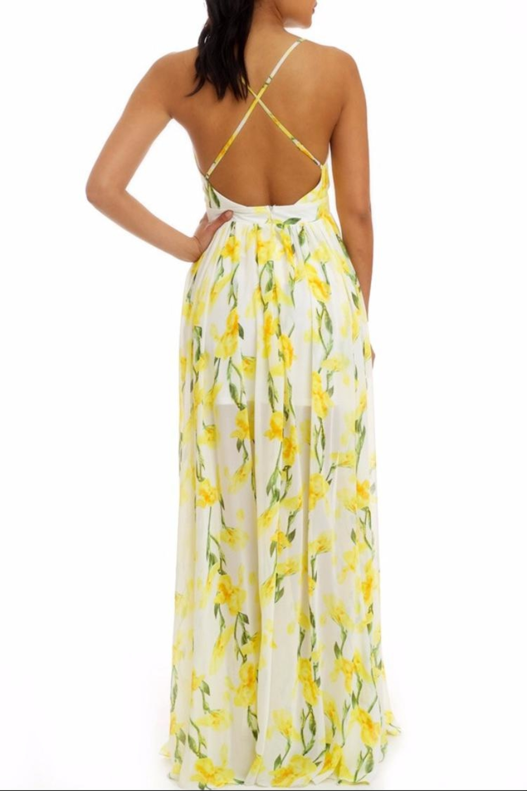 luxxel Yellow Floral Maxi - Front Full Image