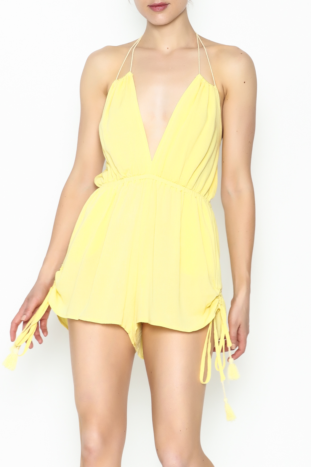 luxxel Yellow Strappy Romper - Main Image