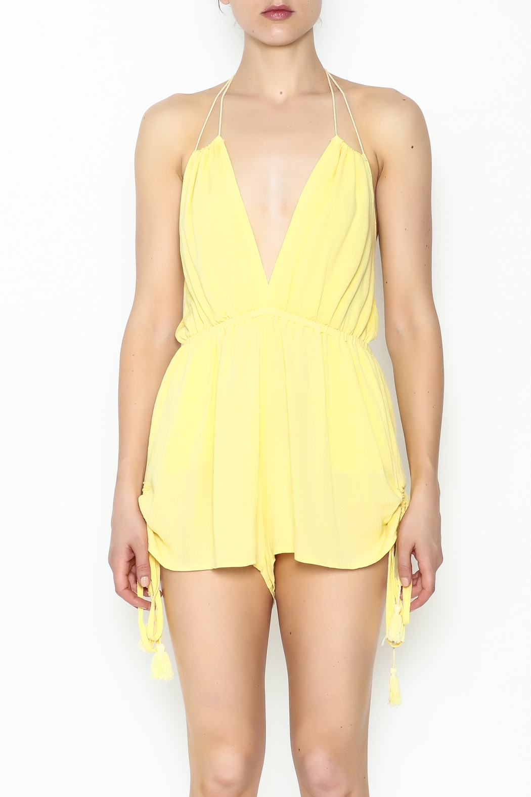 luxxel Yellow Strappy Romper - Front Full Image