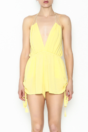 luxxel Yellow Strappy Romper - Front full body