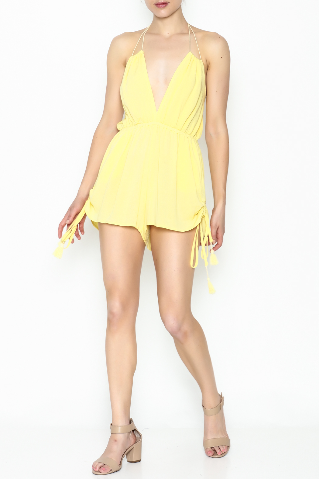 luxxel Yellow Strappy Romper - Side Cropped Image