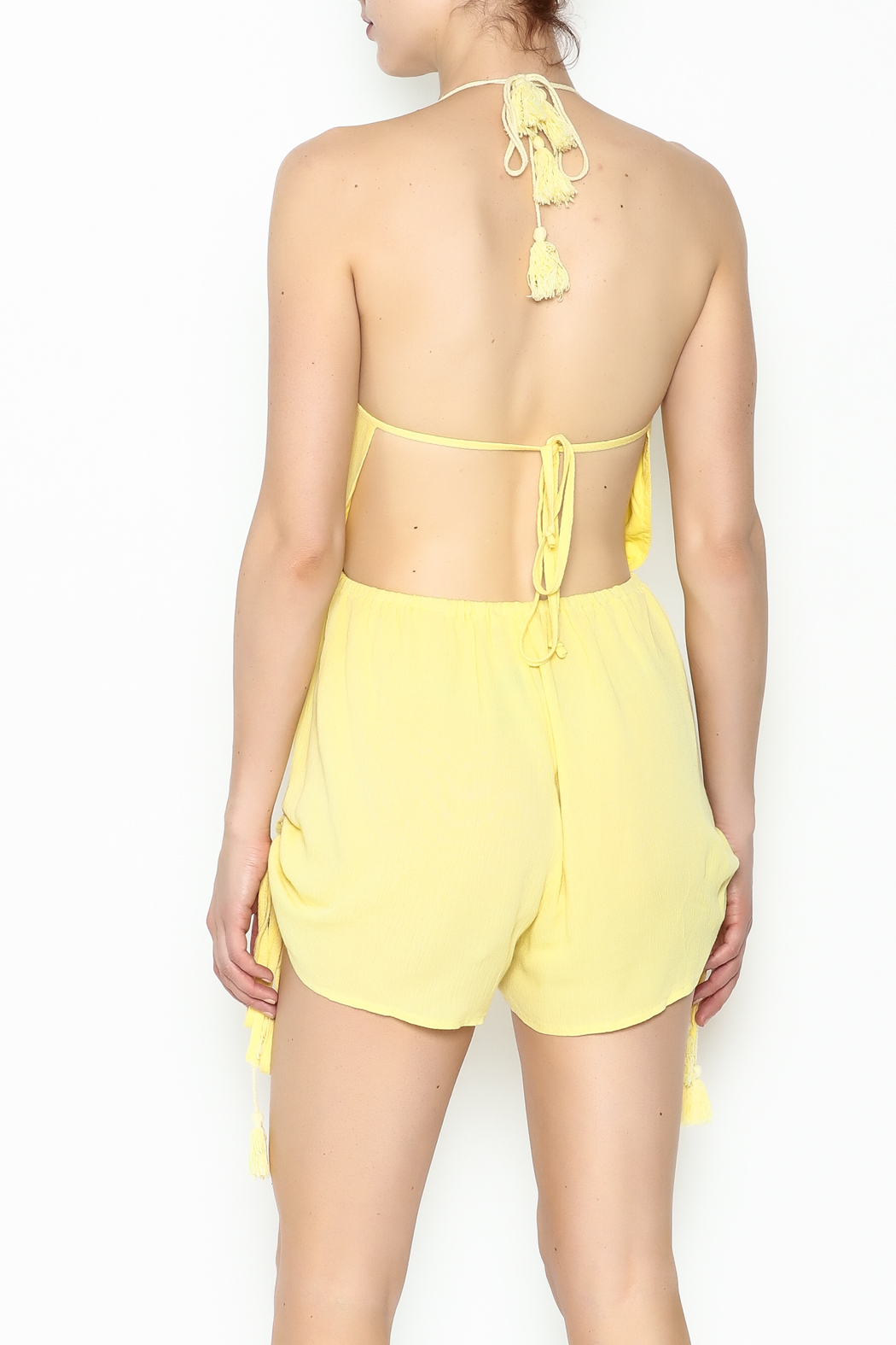 luxxel Yellow Strappy Romper - Back Cropped Image