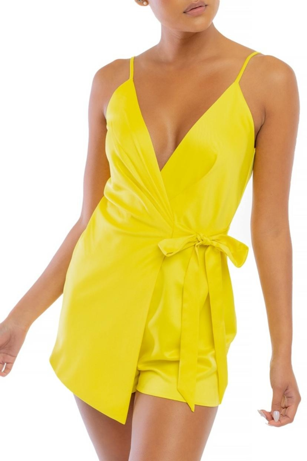 luxxel Yellow Wrap Romper - Main Image