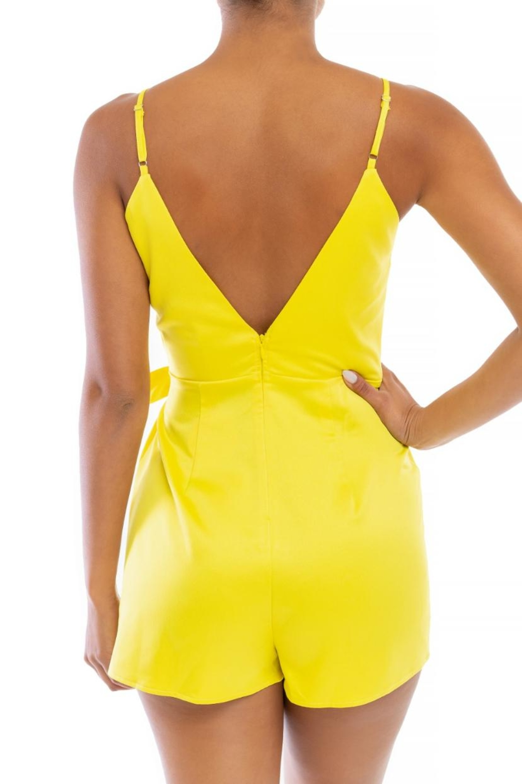 luxxel Yellow Wrap Romper - Front Full Image