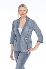 AZI Lydia Frayed Denim Blazer - Product Mini Image