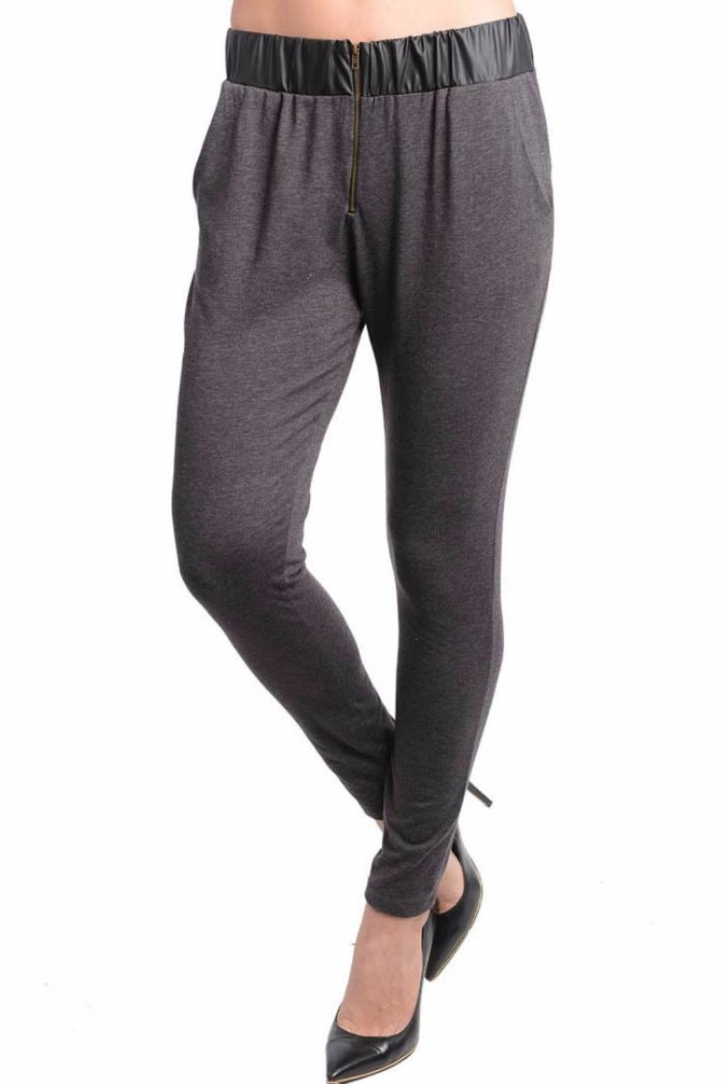 Lydia's Beryl Grey Knit Pants - Front Cropped Image