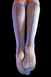 Lyudviga Couture Fun Socks- Sheer Blue Knee High Socks - Product Mini Image
