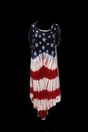Lyudviga Couture Lace Cap Sleeve Hand Dyed Flag Dress - Product Mini Image