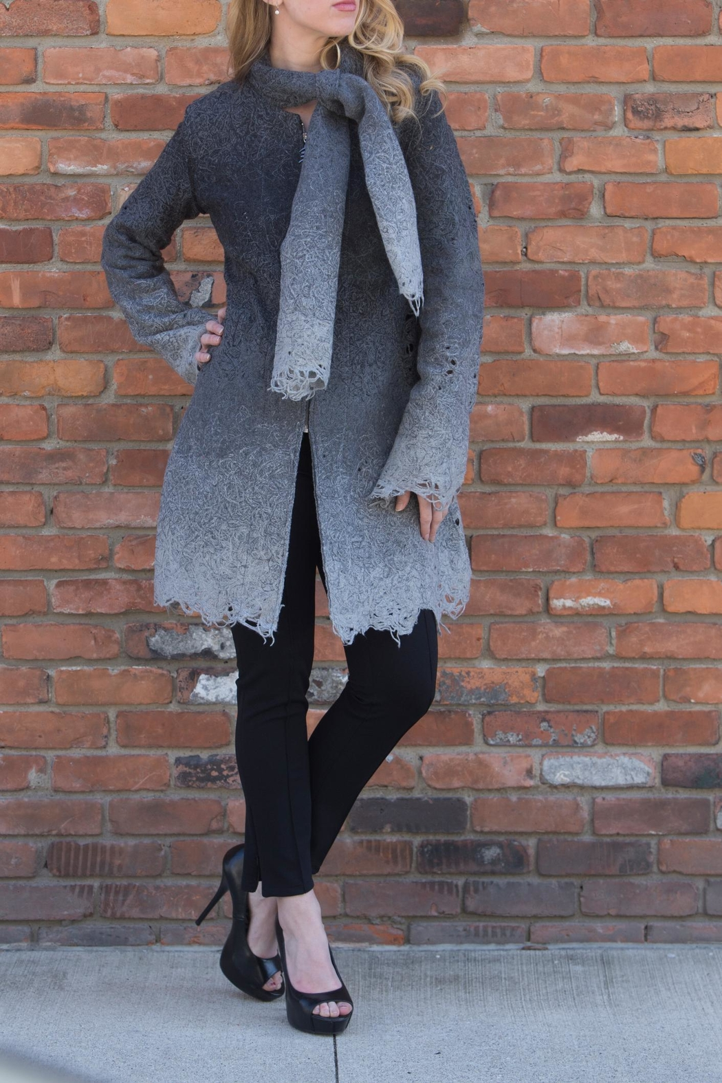 Lyudviga Couture Smokey Ombre Car-Coat - Main Image