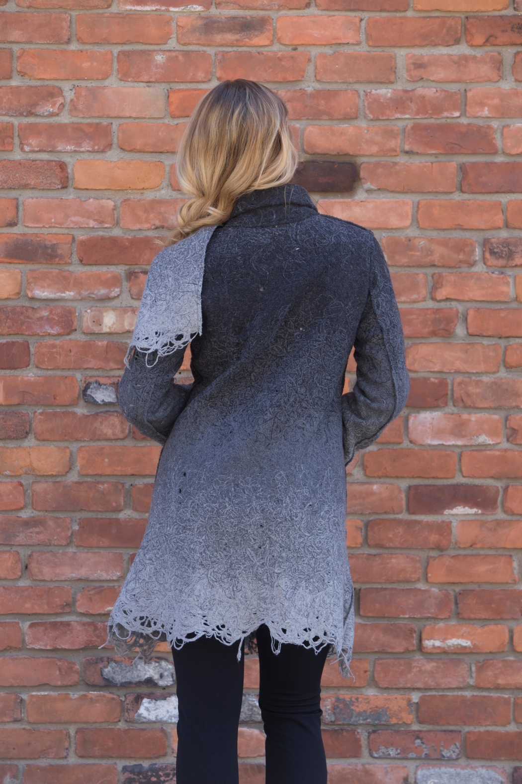 Lyudviga Couture Smokey Ombre Car-Coat - Front Full Image