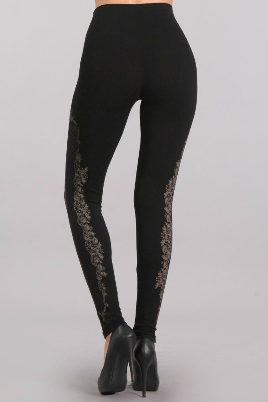 M. Rena High Waisted Lace Legging - Side Cropped Image