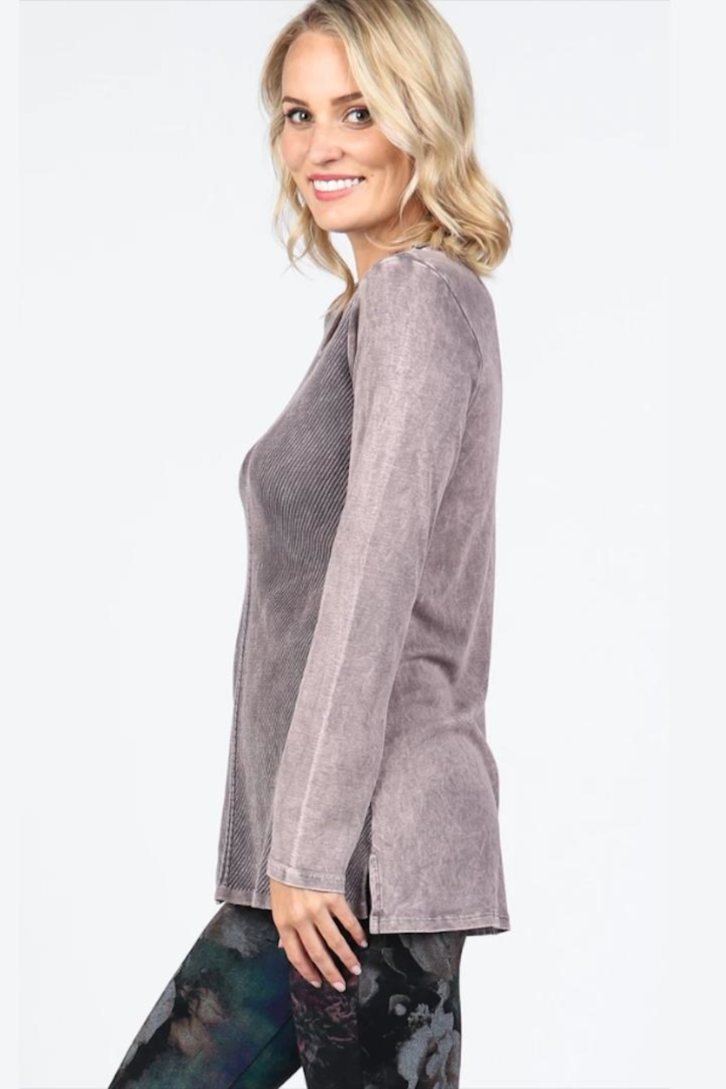 M. Rena Neutral Ribbed Tunic - Front Full Image