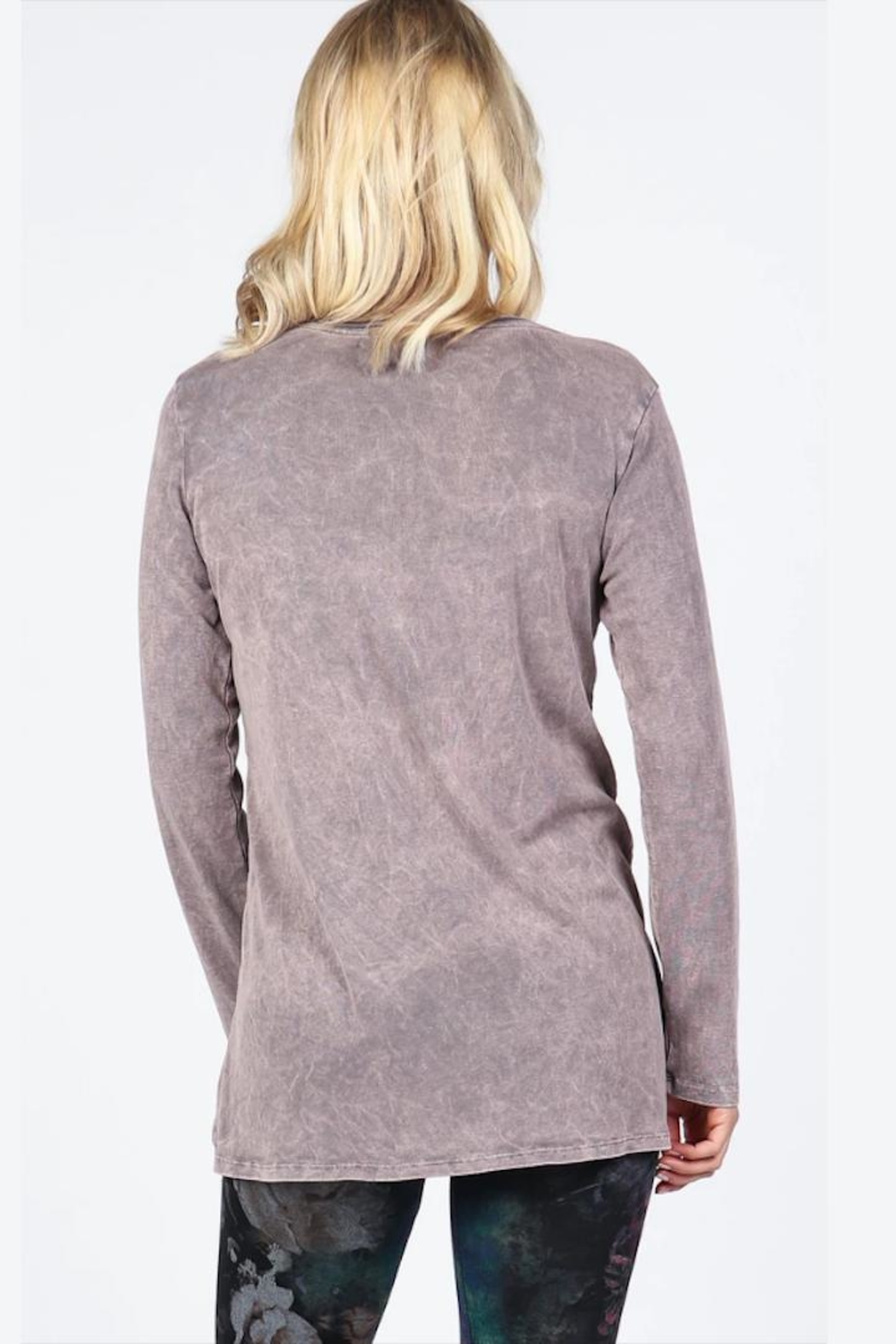 M. Rena Neutral Ribbed Tunic - Side Cropped Image