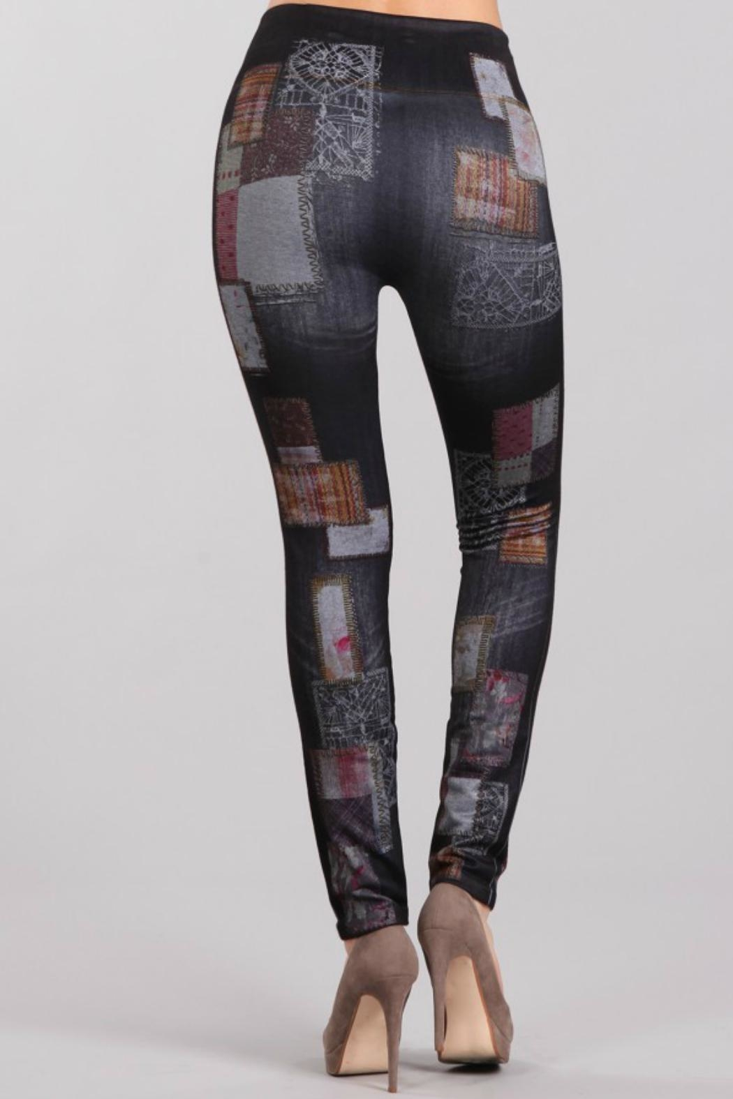 M. Rena Print Denim Legging - Side Cropped Image